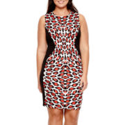 Bisou Bisou® Sleeveless Animal Print Scuba Sheath Dress - Plus