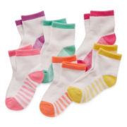Okie Dokie® 6-pk. Low-Cut Socks - Girls 12m-6