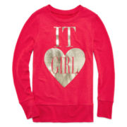 Total Girl® Foil-Accented Sweater - Girls 7-16 and Plus