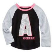 Okie Dokie® Long-Sleeve Baseball Tee - Toddler Girls 2t-5t