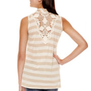 Heart & Soul® Sleeveless Crochet-Back Striped Layered Top