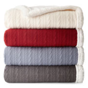 JCPenney Home™ Cable Knit to Sherpa Throw