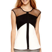 Worthington® Cap-Sleeve Sheer Colorblock Peplum Shirt