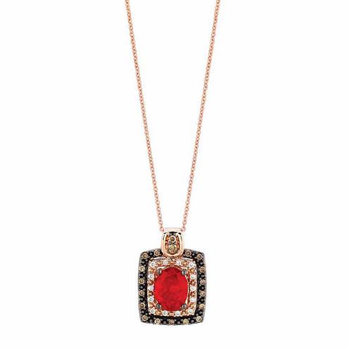 Le Vian® Grand Sample Sale Neon Tangerine Fire Opal® 1/3CT. T.W. Vanilla Diamonds® & Chocolate Diamonds® in14k Strawberry Gold® Pendant Necklace