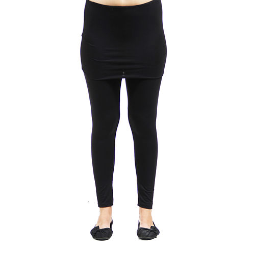 24/7 Comfort Apparel Layered Solid Knit Leggings
