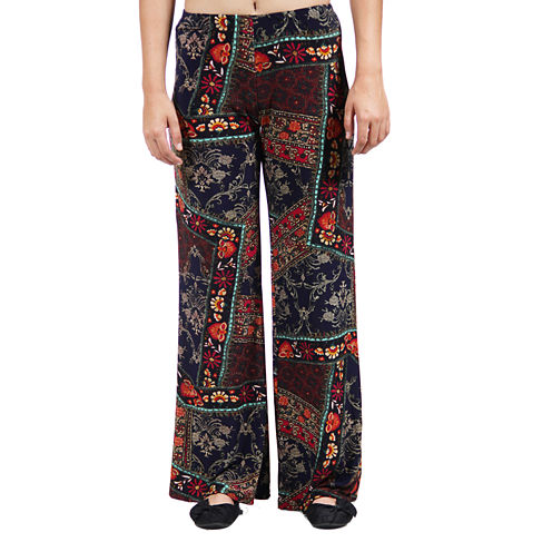 24/7 Comfort Apparel Quilt Floral Printed Palazzo Pants