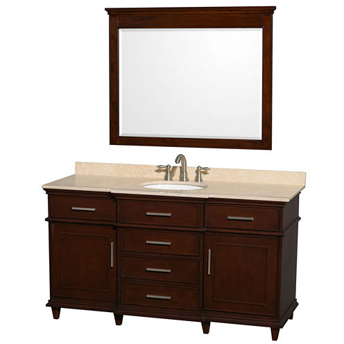 Berkeley 60 inch Single Bathroom Vanity; Ivory Marble Top with White Undermount Oval Sink and 44 inch Mirror