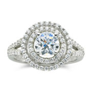 DiamonArt® ½ CT. T.W. Cubic Zirconia Double Halo Ring
