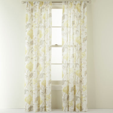 jcpenney.com | MarthaWindow™ Faded Floral Rod-Pocket Sheer Panel
