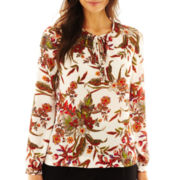 Liz Claiborne Long-Sleeve Tie-Neck Print Blouse