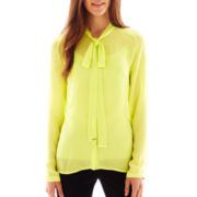 Worthington® Long-Sleeve Button-Front Bow Blouse with Cami