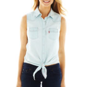 Levi's® Sleeveless Tie-Front Shirt