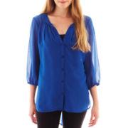Olsenboye® 3/4-Sleeve Chiffon Tunic