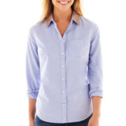 jcp™ Long-Sleeve Embellished Oxford Shirt - Tall