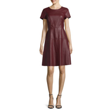 jcpenney.com | Worthington® Short-Sleeve Seamed Pleather A-Line Dress - Tall
