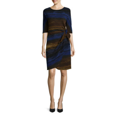 jcpenney.com | Robbie Bee® 3/4-Sleeve Abstract Stripe Side-Tie Sarong Sheath Dress