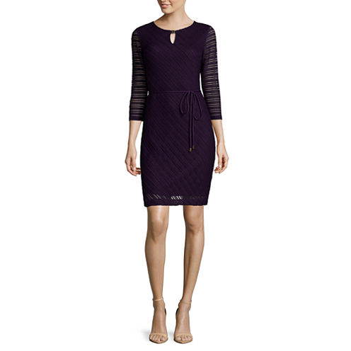 Studio 1® 3/4-Sleeve Bar-Neck Crochet Shift Dress with Belt