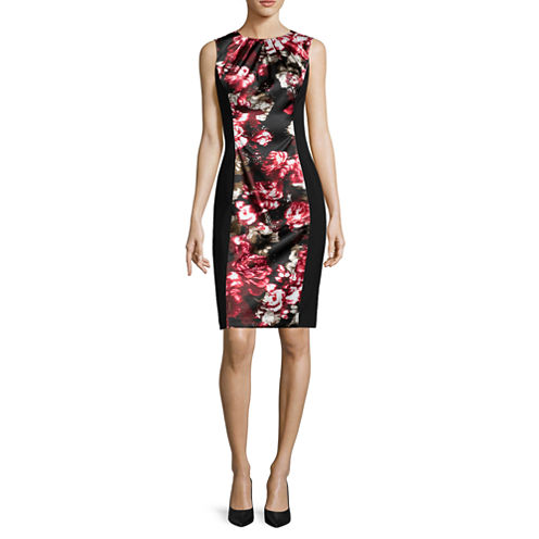 London Style Collection Sleeveless Floral Colorblock Sheath Dress - Petite