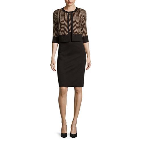 Danny & Nicole® Elbow-Sleeve Chevron Print Jacket Dress - Petites