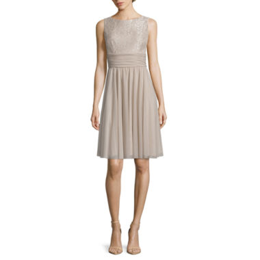 jcpenney.com | JH Evenings Sleeveless Lace-Bodice Fit-and-Flare Dress - Petites