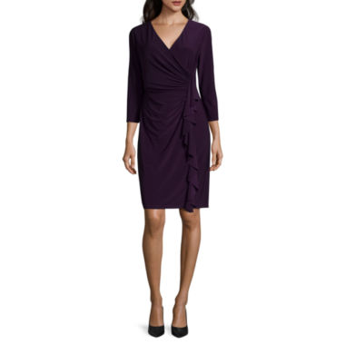 jcpenney.com | Black Label by Evan-Picone 3/4-Sleeve Ruffle Dress