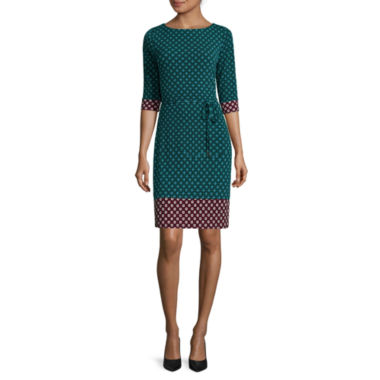 jcpenney.com | Liz Claiborne® 3/4-Sleeve Geo Border Print Sheath Dress