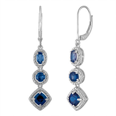 jcpenney.com | Lab Created Blue Sapphire & Diamond-Accent Sterling Silver Earrings