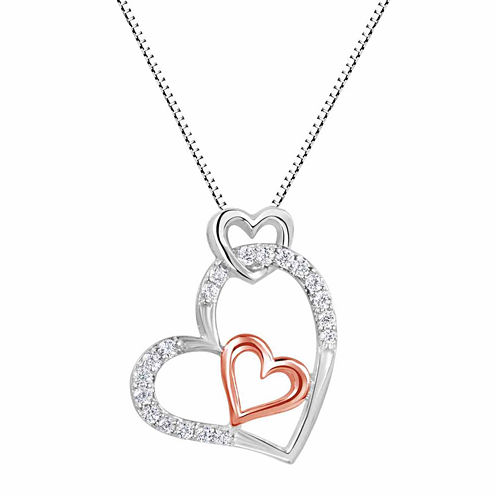 Lab-Created White Sapphire Sterling Silver And 14k Rose Gold Over Silver Heart Pendant Necklace