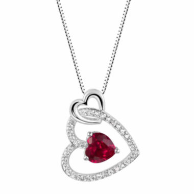 jcpenney.com |  Lab-Created Ruby Sterling Silver Heart Pendant Necklace