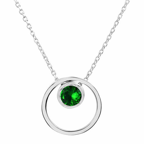 Lab-Created Emerald Sterling Silver Double Circle Pendant Necklace