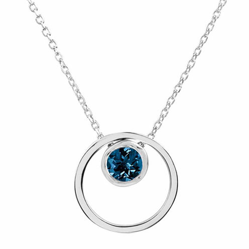 London Blue Topaz Sterling Silver Double Circle Pendant Necklace