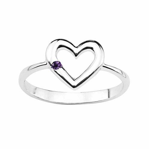 Genuine Amethyst Sterling Silver Heart Ring