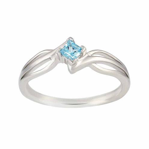 Genuine Blue Topaz Sterling Silver Princess Cut Ring