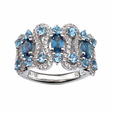 jcpenney.com |  Lab-Created White Sapphire, Genuine London Blue Topaz And Genuine Swiss Blue Topaz Sterling Silver Ring