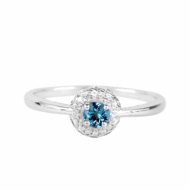 jcpenney.com |  Genuine Blue Topaz And Lab-Created White Sapphire Sterling Silver Halo Ring