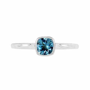 jcpenney.com |  Genuine Blue Topaz Sterling Silver Checkerboard Cushion Ring