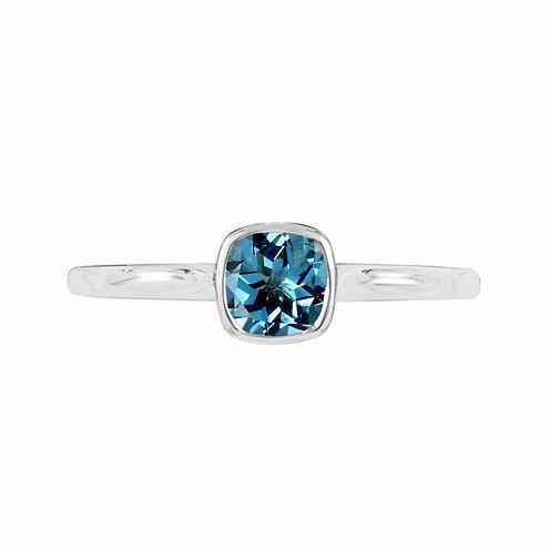 Genuine Blue Topaz Sterling Silver Checkerboard Cushion Ring