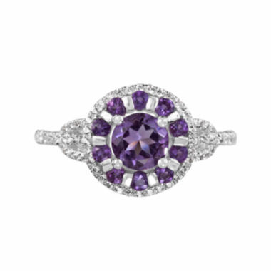 jcpenney.com |  Lab-Created White Sapphire And Genuine Amethyst Sterling Silver Ring