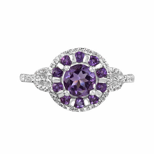 Lab-Created White Sapphire And Genuine Amethyst Sterling Silver Ring