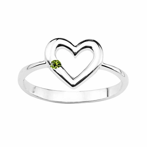 Genuine Peridot Sterling Silver Heart Ring