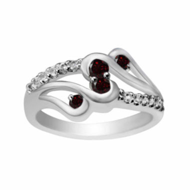 jcpenney.com |  Genuine Garnet And Lab-Created White Sapphire Sterling Silver Ring