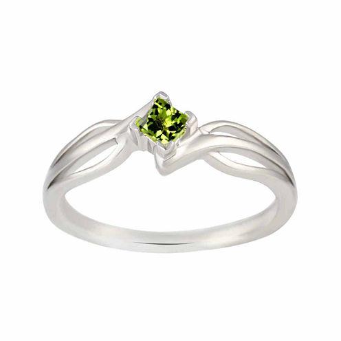Genuine Peridot Sterling Silver Princess Cut Ring