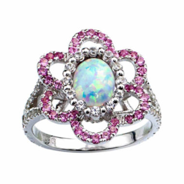 jcpenney.com |  Lab-Created Opal And Lab-Created Pink Sapphire Sterling Silver Flower Ring