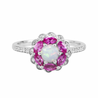 jcpenney.com |  Lab-Created Opal, Lab-Created Pink Sapphire And Lab-Created White Sapphire Sterling Silver Ring
