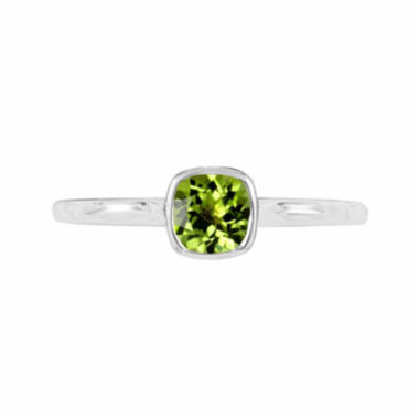 jcpenney.com |  Genuine Peridot Sterling Silver Checkerboard Cushion Ring