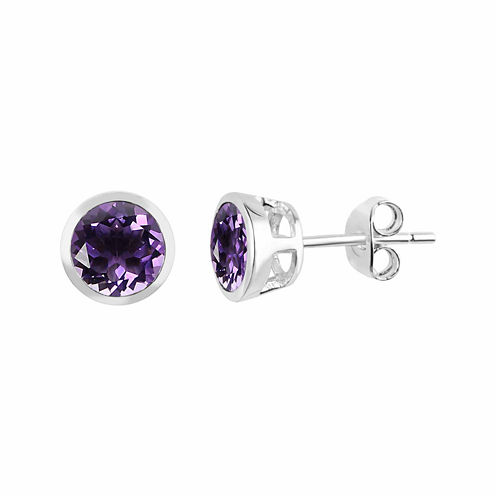 Genuine Amethyst Sterling Silver Bezel Set Stud Earrings