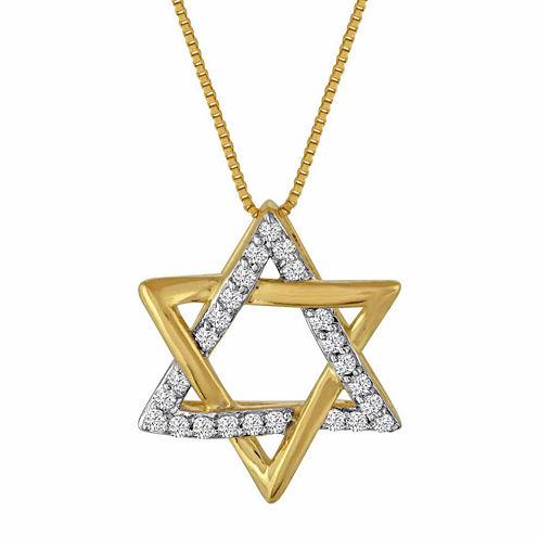 1/10ct. T.w. Diamond 10k Yellow Gold Star Of David Pendant Necklace