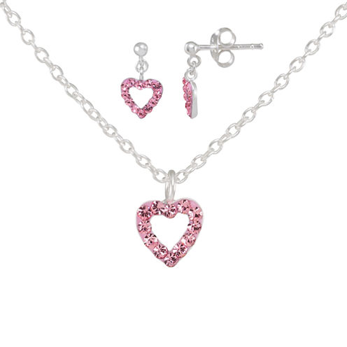 Children's Sterling Silver 2-pc Pink Crystal Heart Earring And Pendant Set