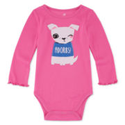 Okie Dokie® Long-Sleeve Rib Bodysuit - Baby Girls newborn-24m