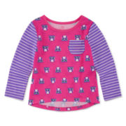 Okie Dokie® Long-Sleeve Print Tee - Baby Girls newborn-24m